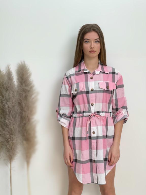 Šaty košeľové káro 7760