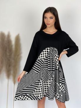 Šaty teplákové prúžky s bodkami