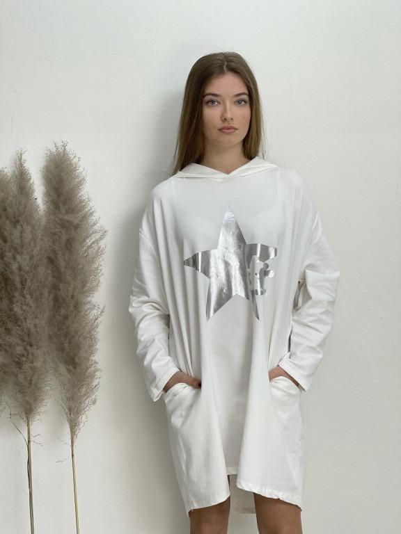 Šaty teplákové s kapucí hvězda 32092