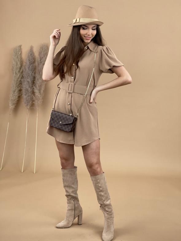 Šaty nad kolená na gombíky s opaskom 9681