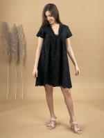 Šaty po kolená madeira krátky rukáv 2076