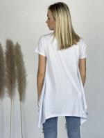 Tričko jednofarebné asymetrické s príveskom