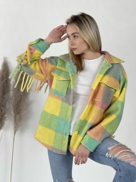 Kabát farebný so strapcami 6056