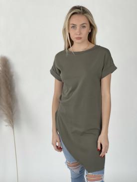 Tričko jednofarebné asymetrické 12035