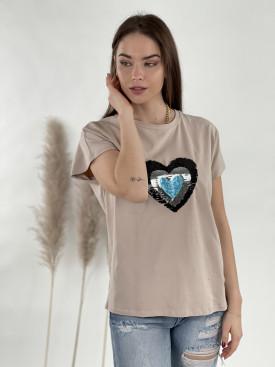 Tričko flitrové srdce
