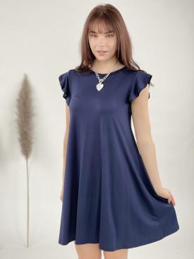 Šaty jednobarevné volánový lem 7160