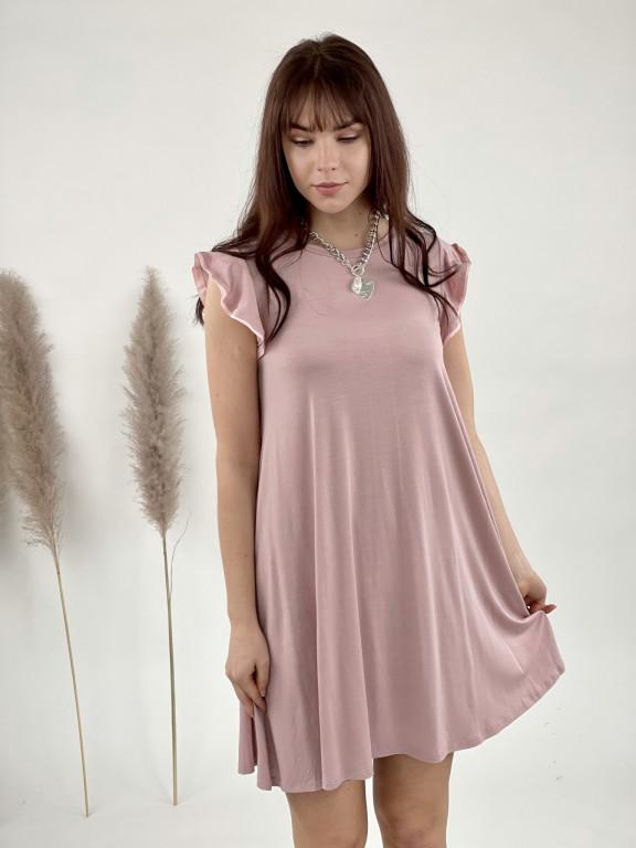 Šaty jednofarebné volánikový lem 7160