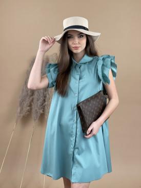 Šaty bavlnené volánikový rukáv 52231