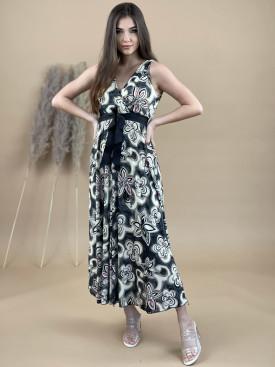 Šaty dlhé béžový kvet 2132