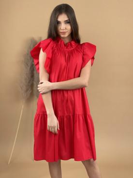 Šaty jednofarebné ku krku volán 31326