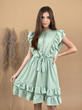 Šaty jednofarebné volány 9753