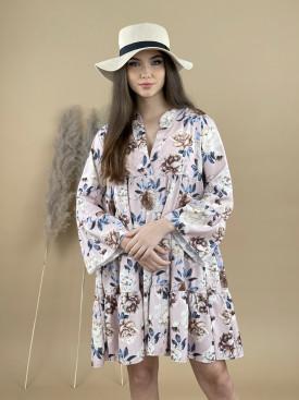Šaty kvetované véčkový výstrih 8745