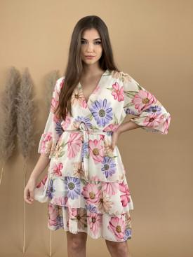 Šaty kvetované volánky 3357