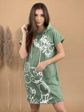 Šaty teplákové s kapucňou Mickey 9752