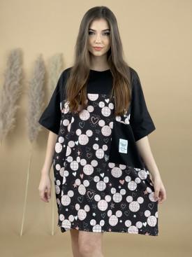 Šaty voľné veľké vrecko Mickey srdcia 20925