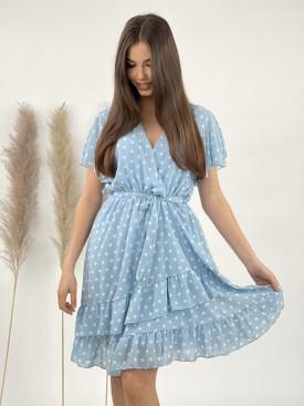 Šaty tečkované s volánem 21099