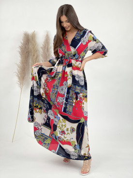 Šaty dlouhé s květy a vzory 7277