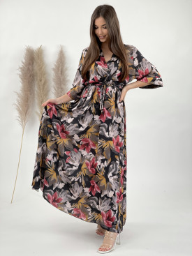 Šaty dlouhé s vázáním květiny 316