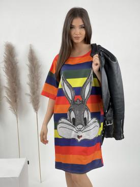 Šaty nad kolena barevné pruhy Bunny