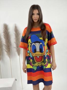 Šaty nad kolena barevný duck
