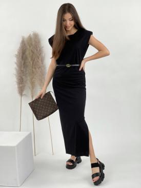 Šaty vycpané ramena s rozparkem 3999