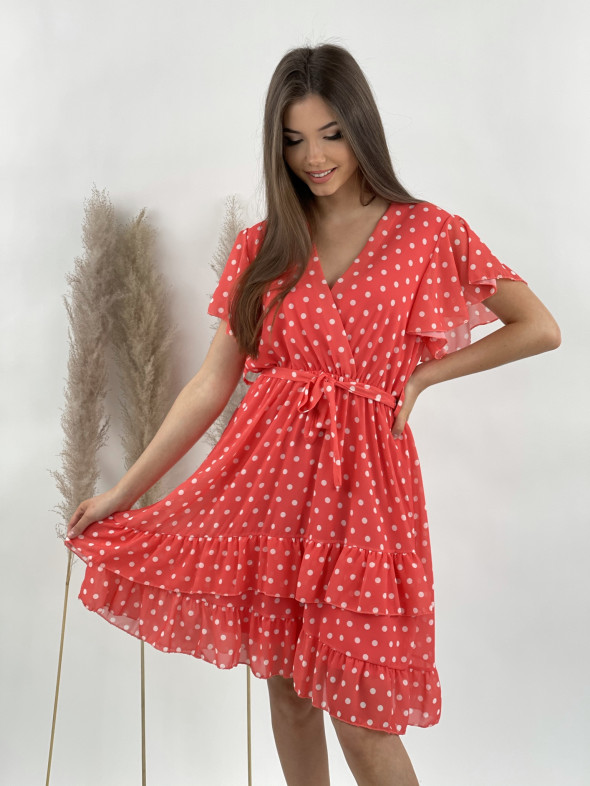 Šaty bodkované s volánom 21099