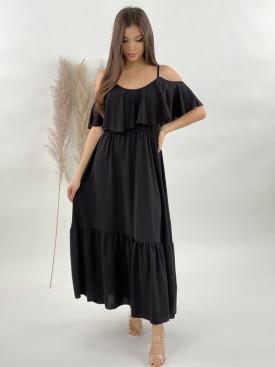 Šaty dlouhé na ramínka volán 21123