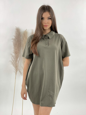 Šaty krátke jednofarebné límček 9910