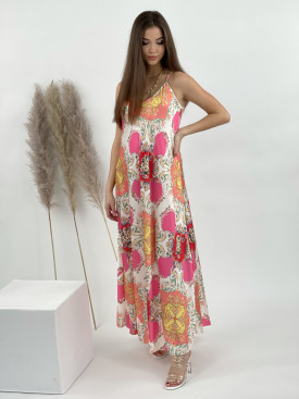 Šaty na ramínka mandala s květinami 2886