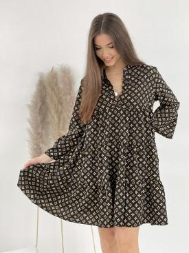 Šaty nad kolena hnědé vzory 8745