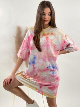 Šaty po kolená farebné vzory 50808