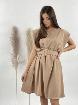 Šaty s páskem vycpané ramena 21116