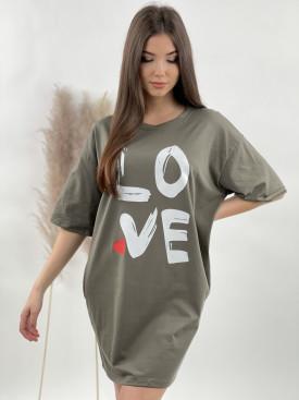 Šaty teplákové LOVE 12172