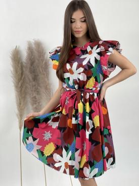 Šaty farebné volánikový lem 7100