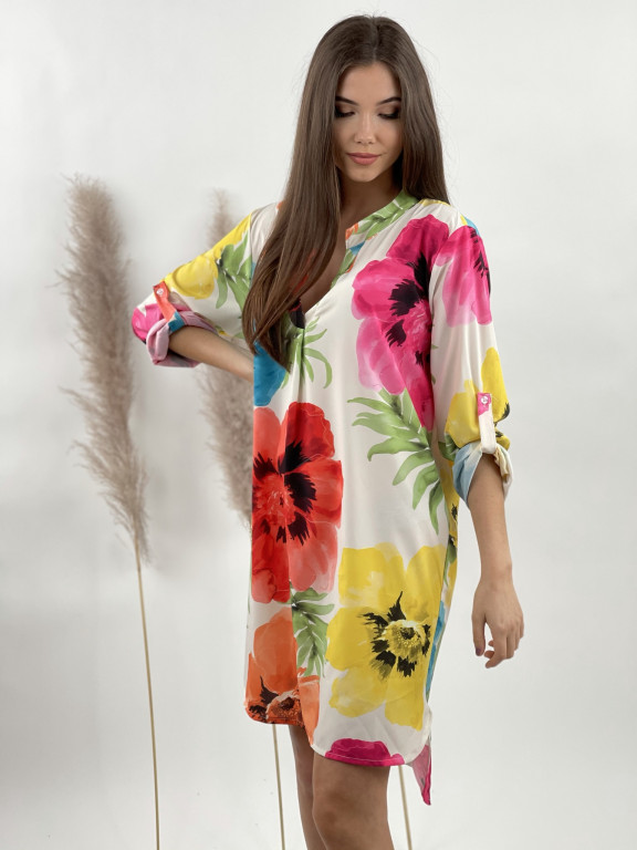 Šaty nad kolená s opaskom farebné kvety 5766