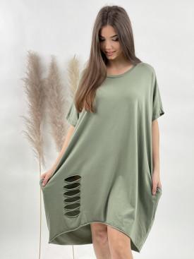 Šaty teplákové diery 9955