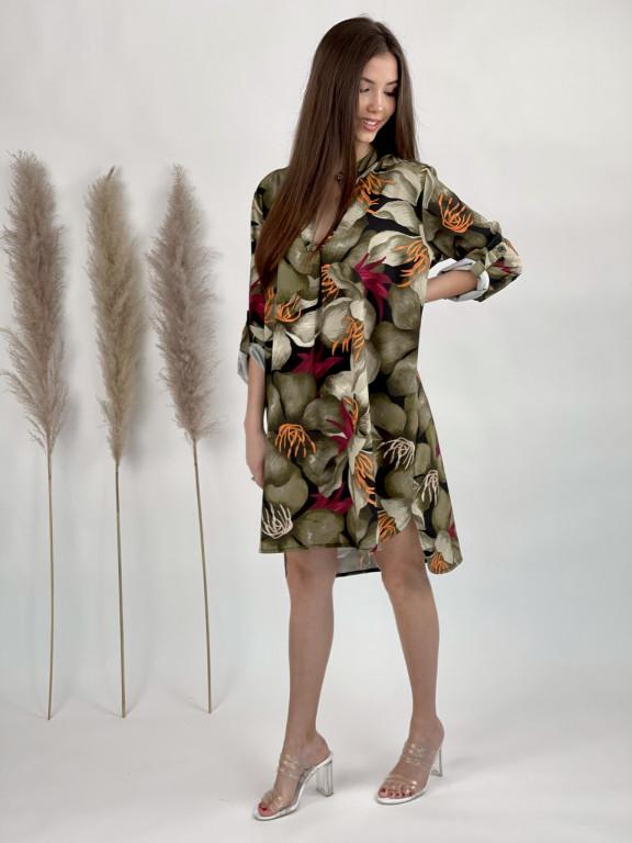 Šaty nad kolená s opaskom lalie 5766