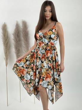 Šaty pod kolená na ramienka kvety 20218