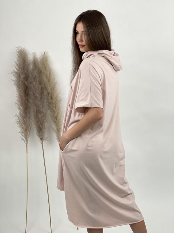 Šaty teplákové s vreckom a kapucňou 20233