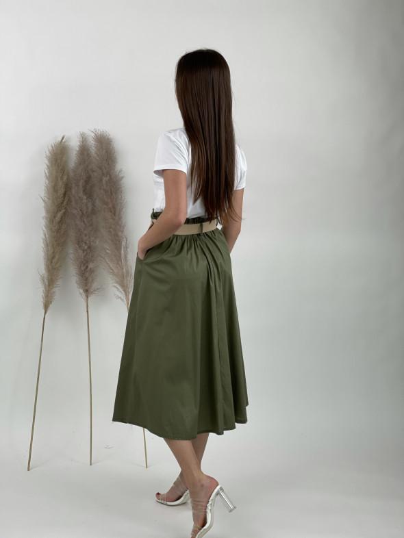Sukňa bavlnená s opaskom 40154
