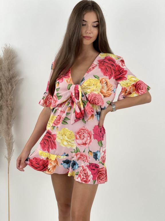 Šaty krátke veľké kvety 22978