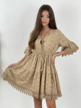 Šaty bavlnené madeira s krajkou 20069