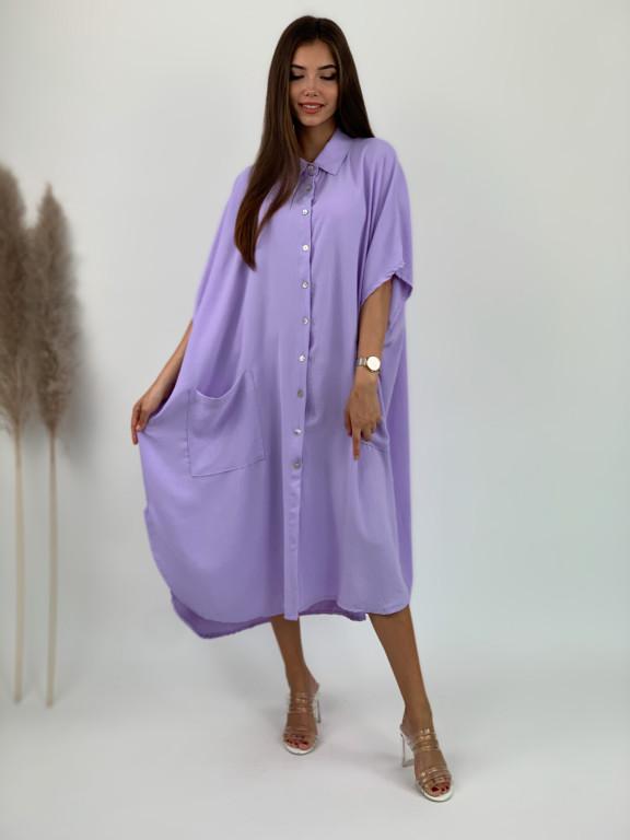 Šaty dlhé košeľové dve vrecká 53076
