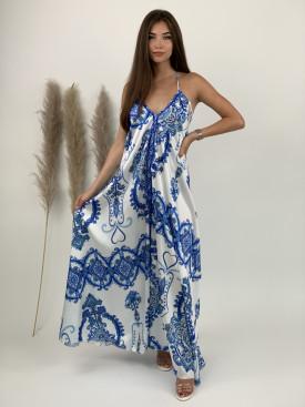 Šaty dlhé na ramienka ornamenty 5001