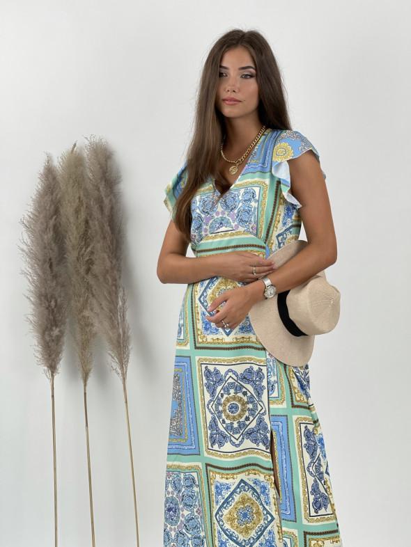 Šaty midi véčkový výstrih ornamenty 26828