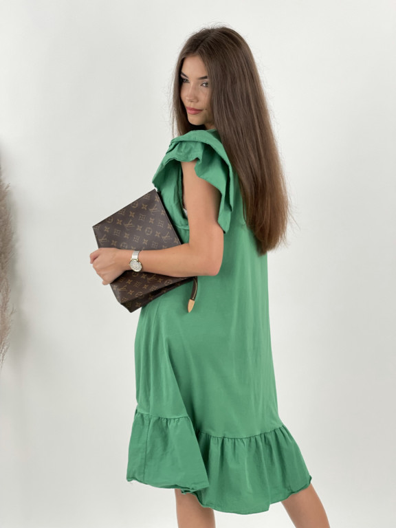 Šaty jednofarebné volánový rukáv 10162