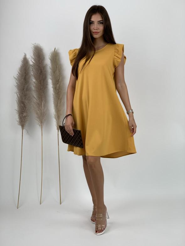 Šaty jednofarebné volánový rukáv 3159