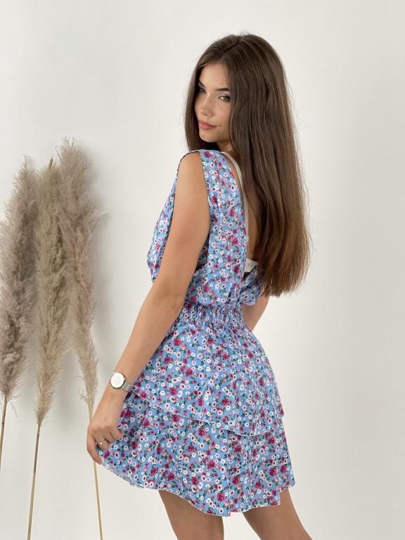 Šaty krátke kvetované volánky 7367