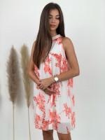 Šaty ku krku maľovane kvety