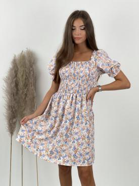 Šaty kvetované nazberkaný rukáv 3988